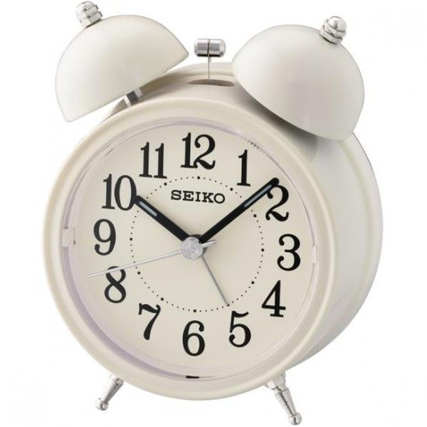 Seiko QHK035C Bell Alarm Clock with Light and Snooze Cream
