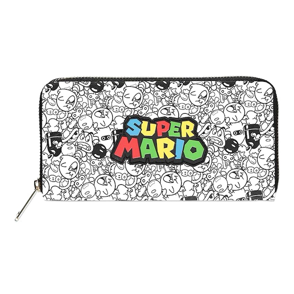 Nintendo - Logo With All-Over Villain Characters Print Purse Wallet - Multi-Colour