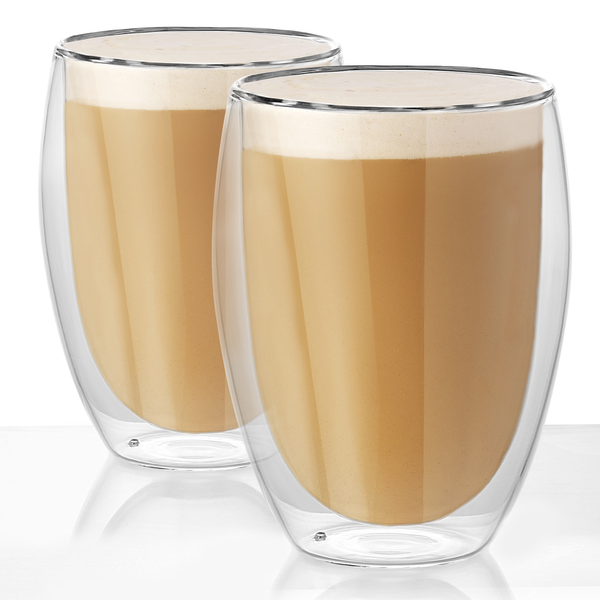 Double Walled Insulated Tea & Coffee Glasses | M&W Set of 2 - 350ml