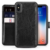 Apple iPhone X 2 in 1 PU Leather Wallet Case - Black