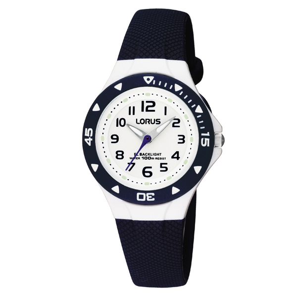 Lorus RRX43CX9 Childrens Watch with textured Blue Polyurethane Strap