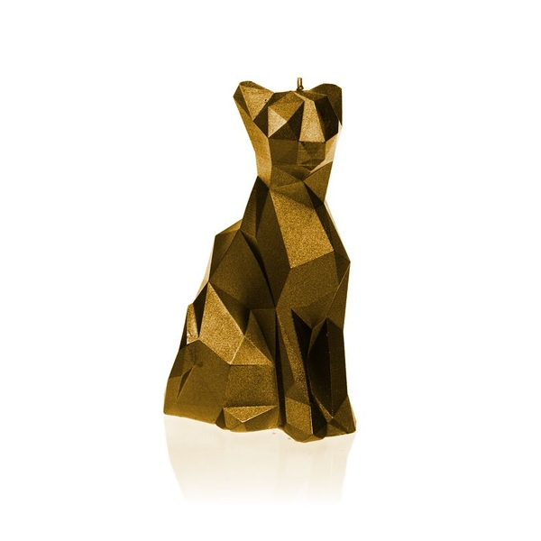 Gold Low Poly Cat Candle