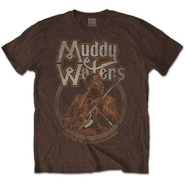 Muddy Waters - Father of Chicago Blues Men's X-Large T-Shirt - Brown