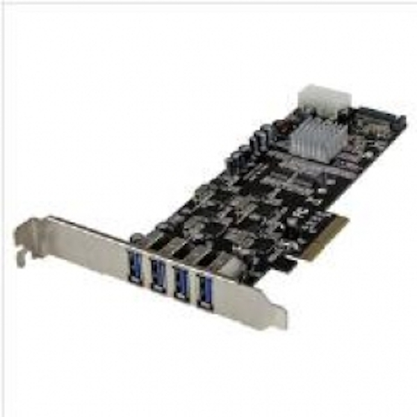 Image of StarTech 4 Port Quad Bus PCI Express (PCIe) SuperSpeed USB 3.0 Card Adapter with UASP - SATA/LP4 Power