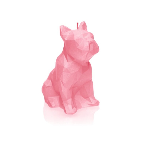 Pink Low Poly Bulldog Candle