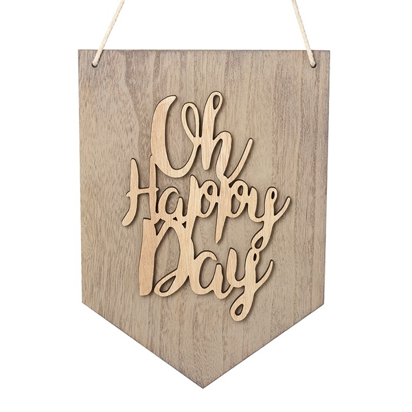 Hanging Wooden Oh Happy Day Sign By Heaven Sends