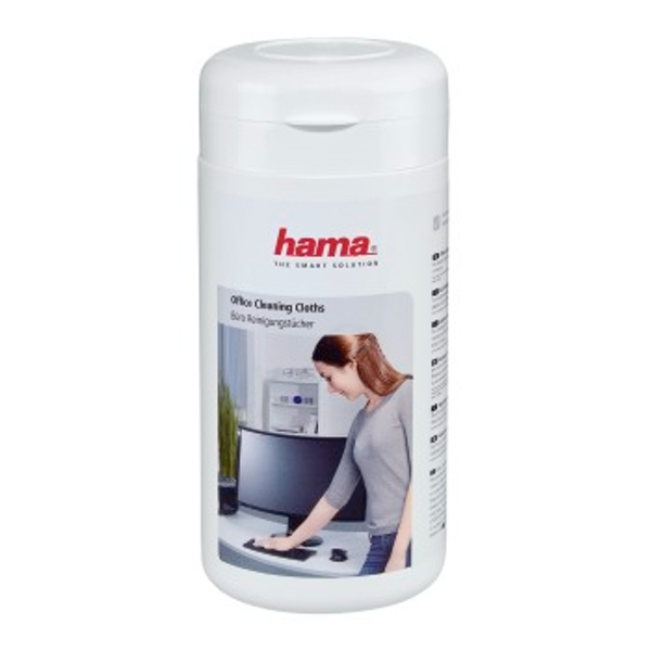 Hama Office Cleaning Cloths, 100 pcs, in Dispenser Tub