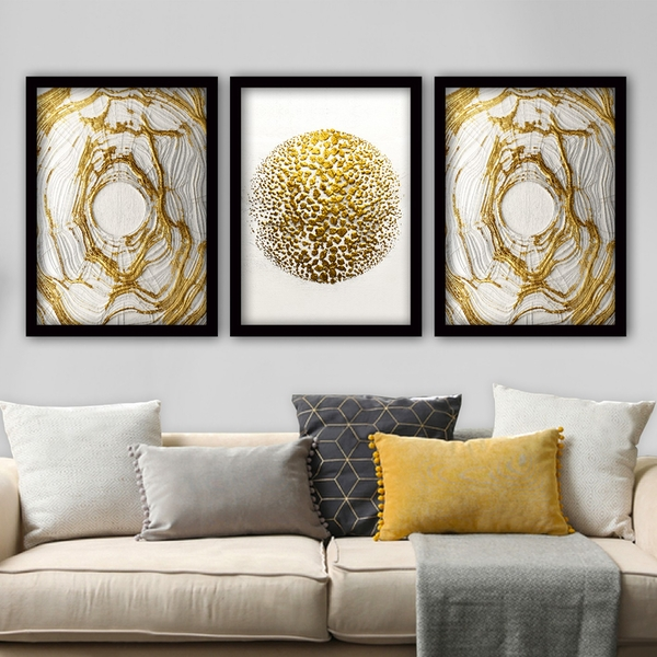 3SC98 Multicolor Decorative Framed Painting (3 Pieces)