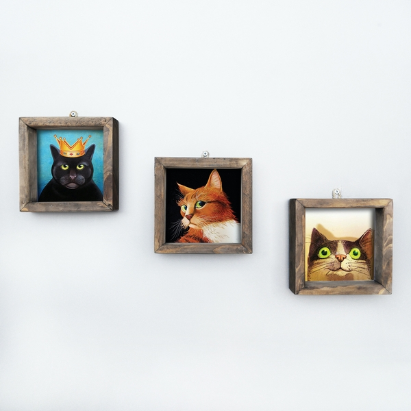 UKZM024 Multicolor Decorative Framed MDF Painting (3 Pieces)