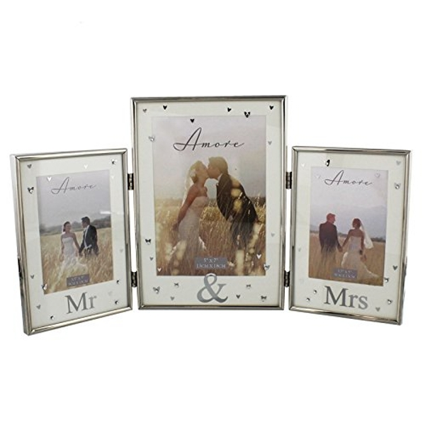 AMORE BY JULIANA? Silver Plated Triple Photo Frame - Mr & Mr