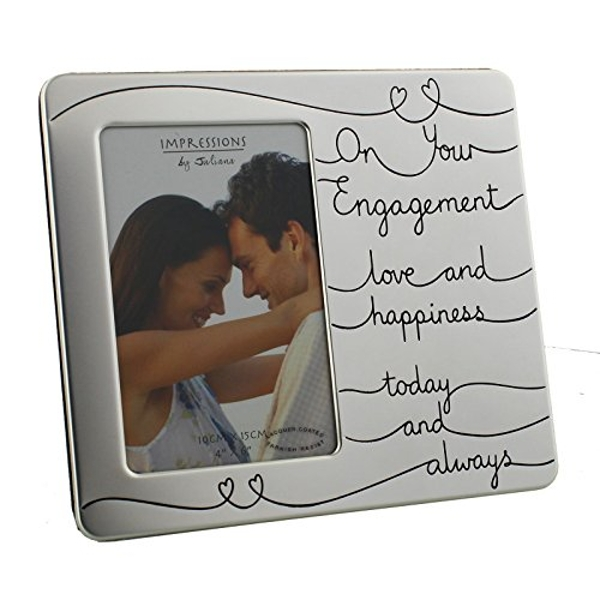 """4"""" x 6"""" - Engagement Satin Silver Plated Photo Frame"""