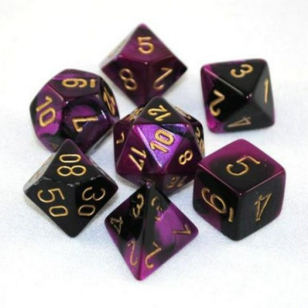 Chessex Gemini Poly 7 Set: Black-Purple/Gold