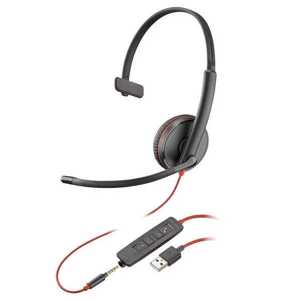 Plantronics Blackwire 3200 Mono Corded UC Headset With USB & 3.5mm Smart Phone Connectivity