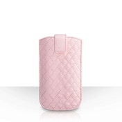 Caseflex Diamond Pattern PU Leather Auto Return Pull Tab Pouch (S) - Baby Pink
