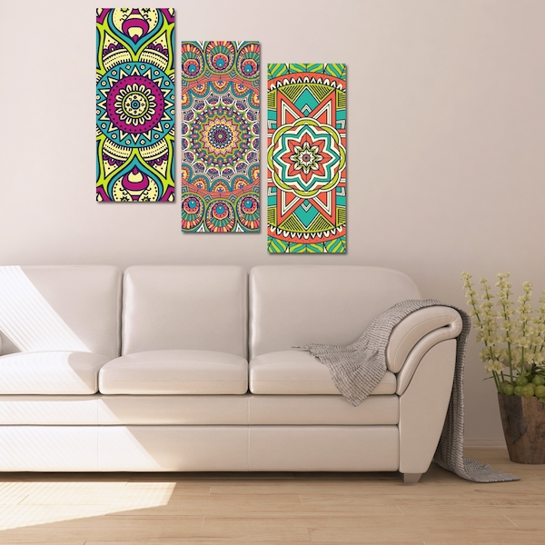 BME021 Multicolor Decorative Framed MDF Painting (3 Pieces)
