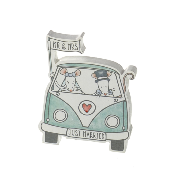 Just Married Mr & Mrs Mouse in Campervan Decoration By Heaven Sends