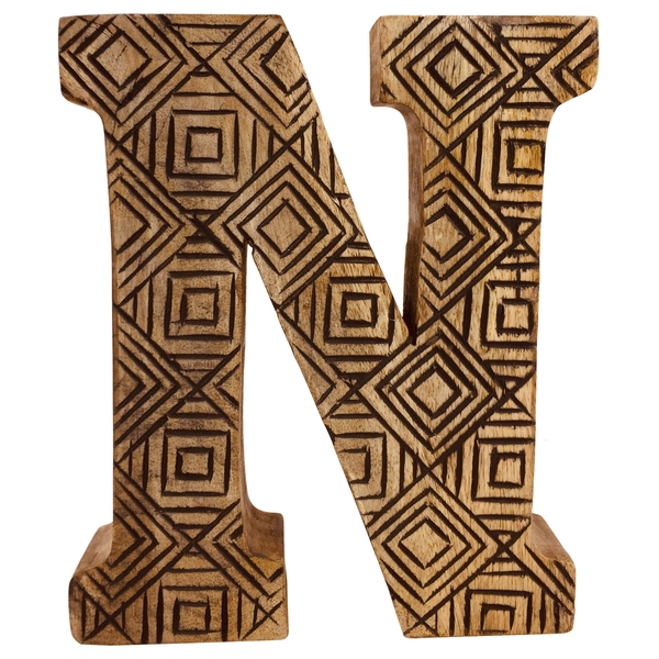 Letter N Hand Carved Wooden Geometric