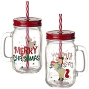 Unicorn Christmas Mason Drinking Jar