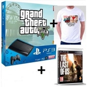 500GB Super Slim Console with Grand Theft Auto V + Last Of Us Game + Five Times The Fun T-Shirt PS3
