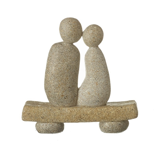 Stone Couple on Bench Ornament by Heaven Sends
