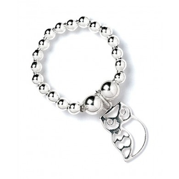 Owl Charm with Sterling Silver Ball Bead Ring