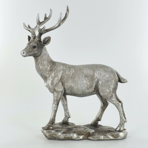 Antique Silver Deer Silver Ornament