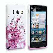 YouSave Accessories Huawei Ascend Y300 Floral Bee Gel Case - Pink-White