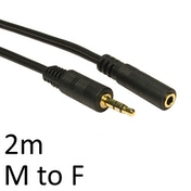 3.5mm (M) Stereo Plug to 3.5mm (F) Stereo Socket 2m Black OEM Cable