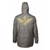 Nintendo Legend of Zelda Men's Golden Hyrule Royal Crest Medium Parka Jacket with Hood - Military Green