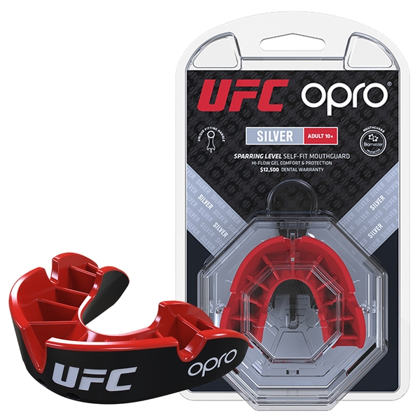 UFC Silver Mouthguard by Opro Black/Red Youths