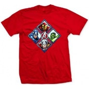 Avengers Diamond Characters Mens Red T Shirt: XX-Large