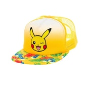 Pokemon Pikachu Winking Face with Floral Pattern Trucker Snapback Yellow Baseball Cap