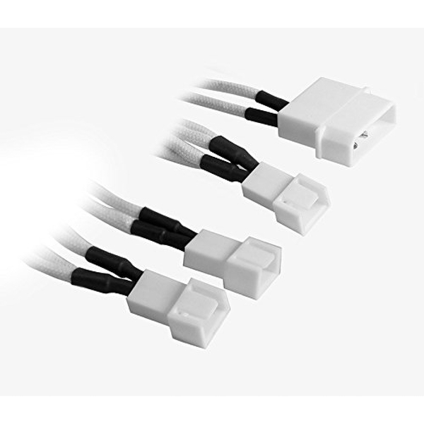 BitFenix Alchemy Molex to 3x 3-Pin 7V Adapter 20cm - sleeved white/white
