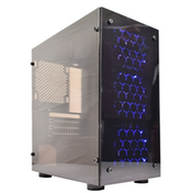 Cronus V4 Micro Tower 1 x USB 3.0 / 2 x USB 2.0 Acrylic Side & Front Window Panel Black Case with Blue LED Fans