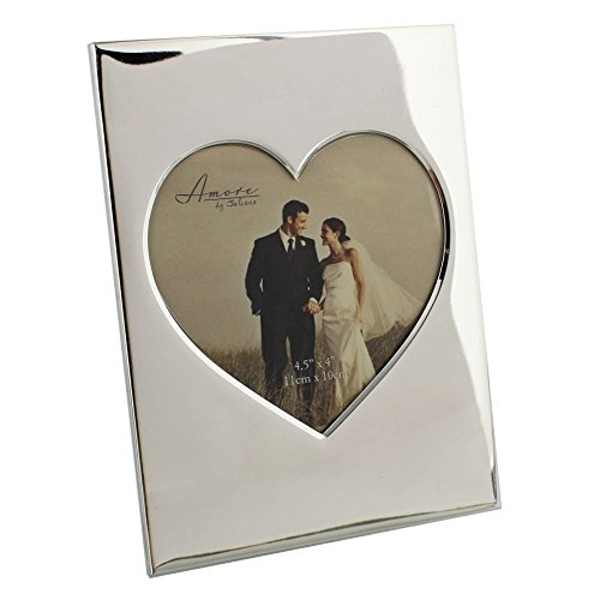 """5"""" x 5"""" - AMORE BY JULIANA? Silver Plated Heart Photo Frame"""