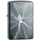 Zippo Unisex's Spider & Web Design Black Ice Windproof Lighter