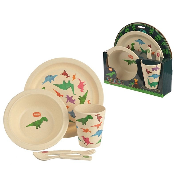 Dinosaur Bambootique Eco Friendly Design Kids Dinner Set