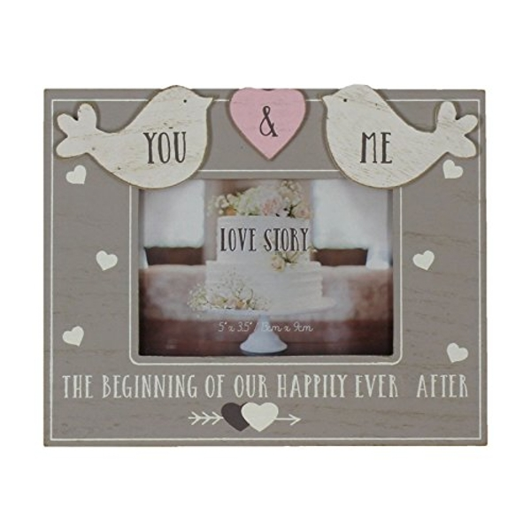 """5"""" x 3.5"""" - Love Story Wooden Birds Photo Frame - You & Me"""