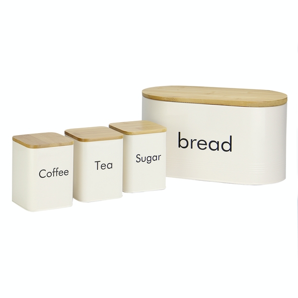 4 Piece Tea, Coffee & Sugar Kitchen Canister Set in Cream with Bamboo Lids and Bread Bin | M&W