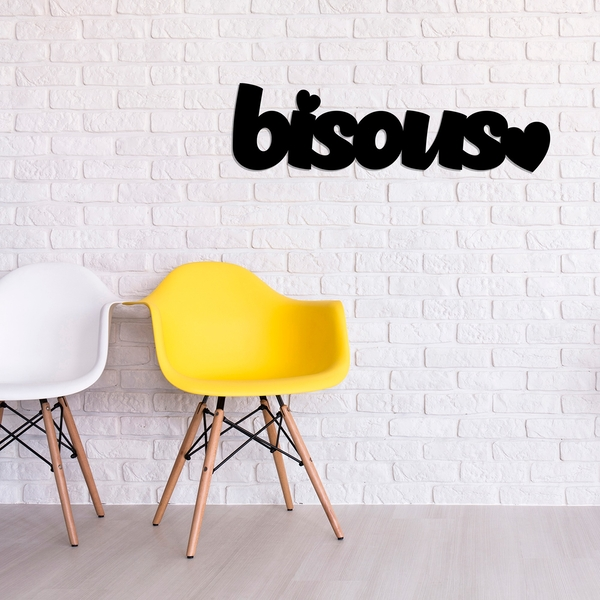 Bisous - Black Black Decorative Wooden Wall Accessory
