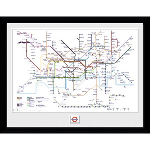 """Transport For London Underground Map 12"""" x 16"""" Framed Collector Print"""