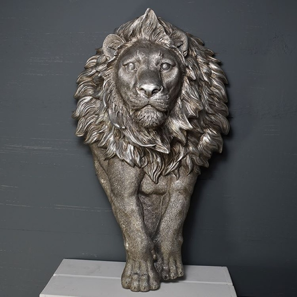Antique Silver Large Lion Wall Art