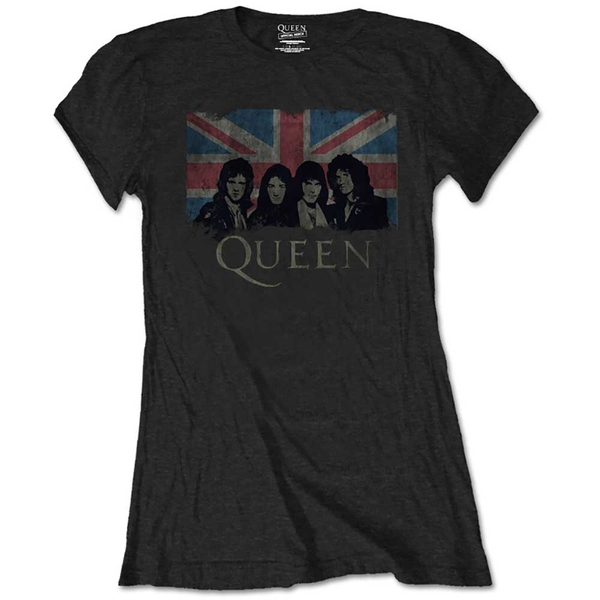 Queen - Union Jack Vintage Women's Large T-Shirt - Black