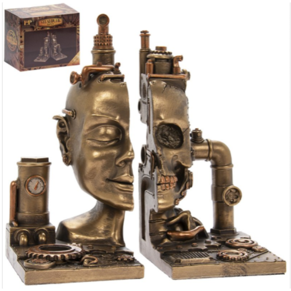 Steam Punk Skull Bookends By Lesser & Pavey