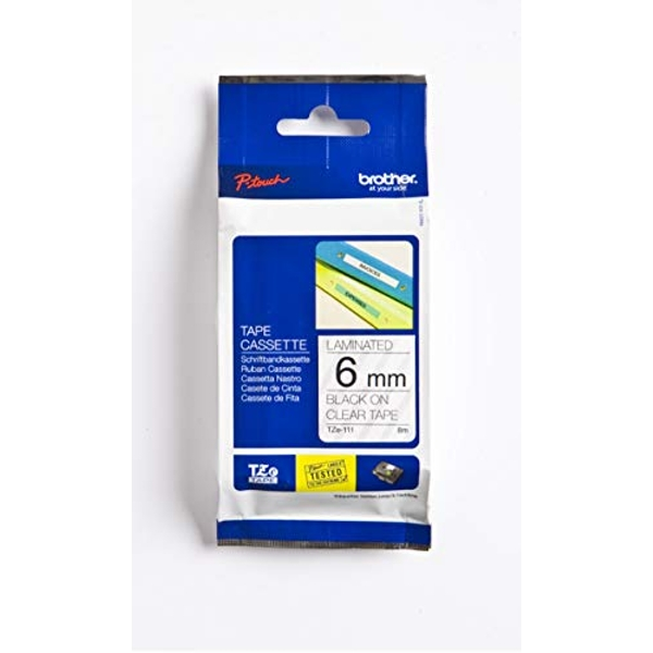 Brother TZe-111 Labelling Tape Cassette, 6 mm (W) x 8 m (L), Laminated, Brother Genuine Supplies - Black on Clear