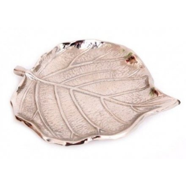 12.5 cm Leaf Shaped Silver Aluminium Dish