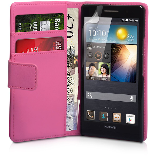 YouSave Accessories Huawei Ascend P6 Leather-Effect Wallet Case - Hot Pink