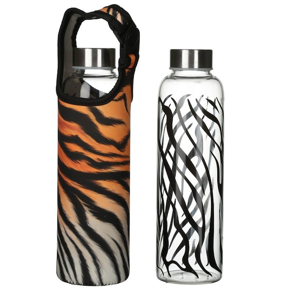 Spots and Stripes Big Cat Reusable Glass Water Bottle with Sleeve and Handle