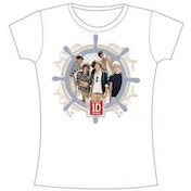 One Direction Nautical Skinny Skinny White TS: Small