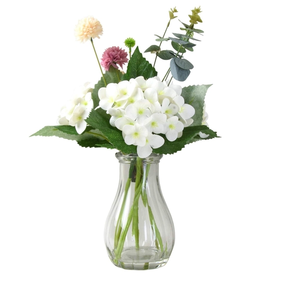 Faux Pink and White Floral  Arrangement in Tear Drop Clear Glass vase